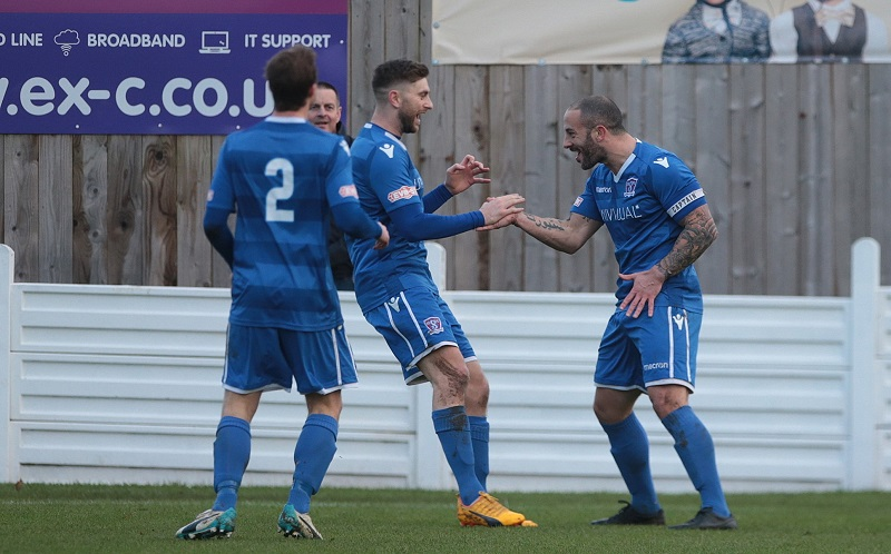 Action from last season as Stuart Fleetwood celebrates his opening goal