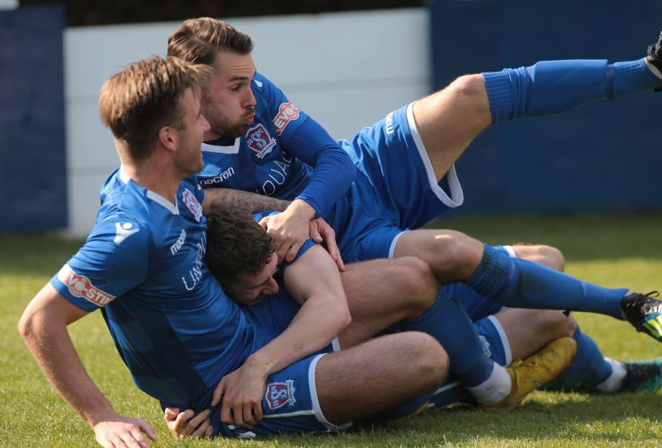 Connor McDonagh and Michael Hopkins celebrate Harry Williams' goal