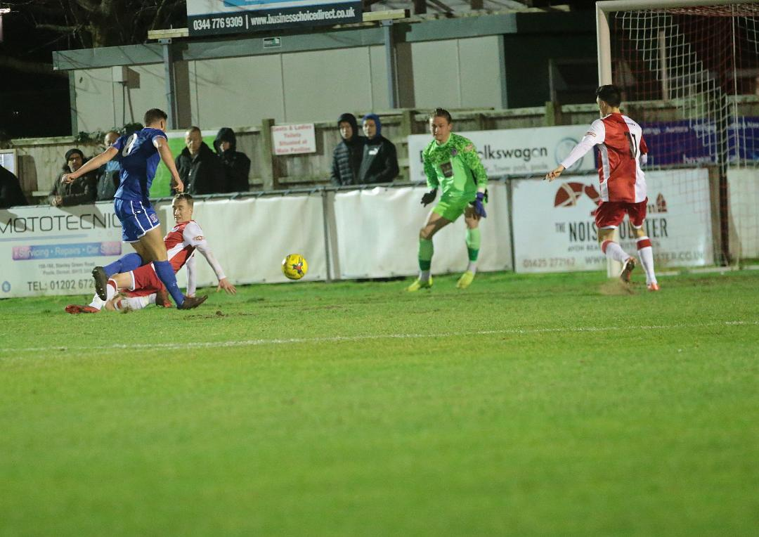 Mat Liddiard scores his first goal for the club