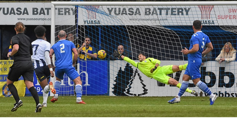 Farnborough's Andrew Sealy-Harris scores the opening goal