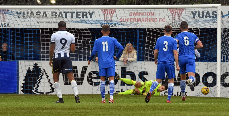 Reggie Yates scores Farnborough's second goal from the penalty spot