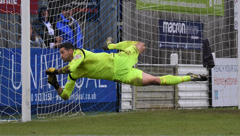 Marine keeper Martin Horsell makes a find save just before the break