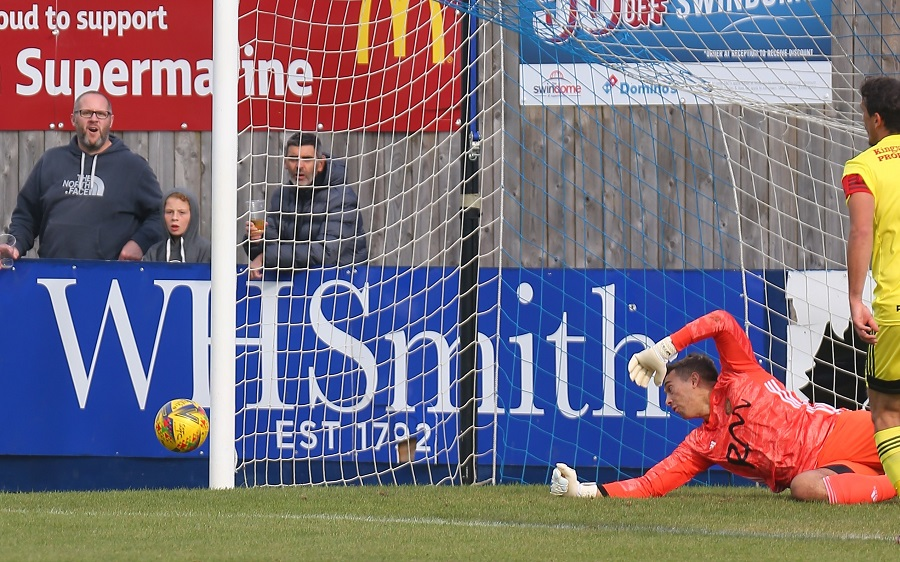 Conor's first half header was well saved by Williams in the Tiverton goal