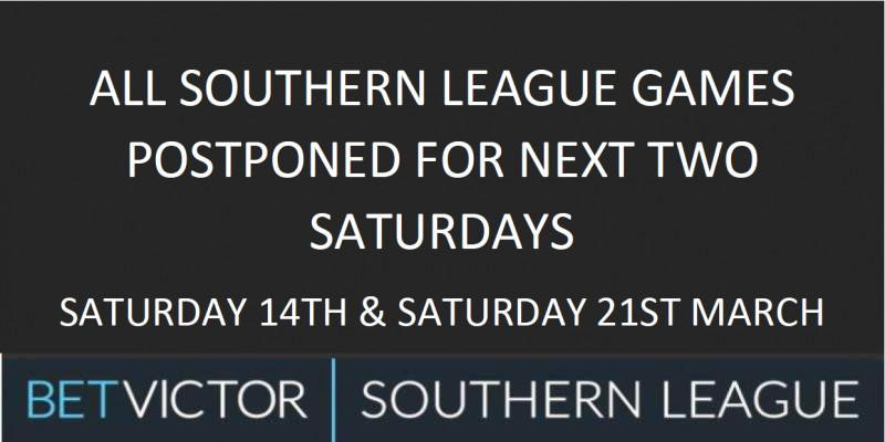 Southern League Matches Postponed